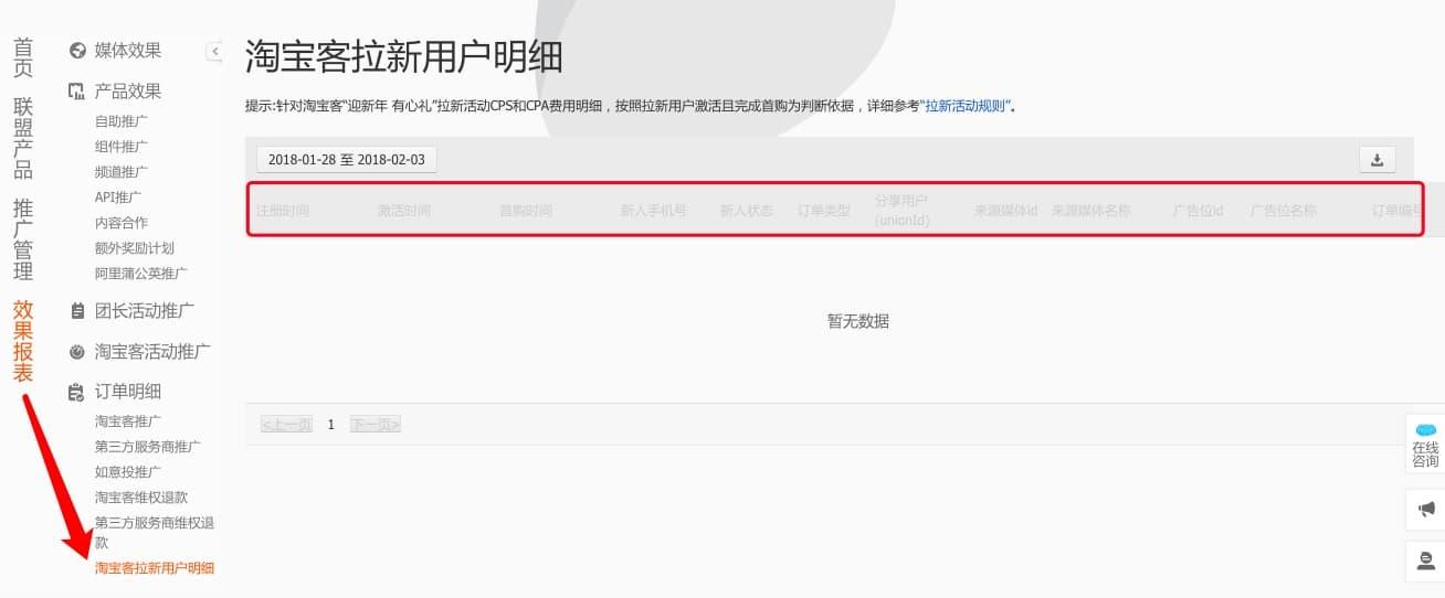 春节淘宝联盟拉新用户数据哪里看?